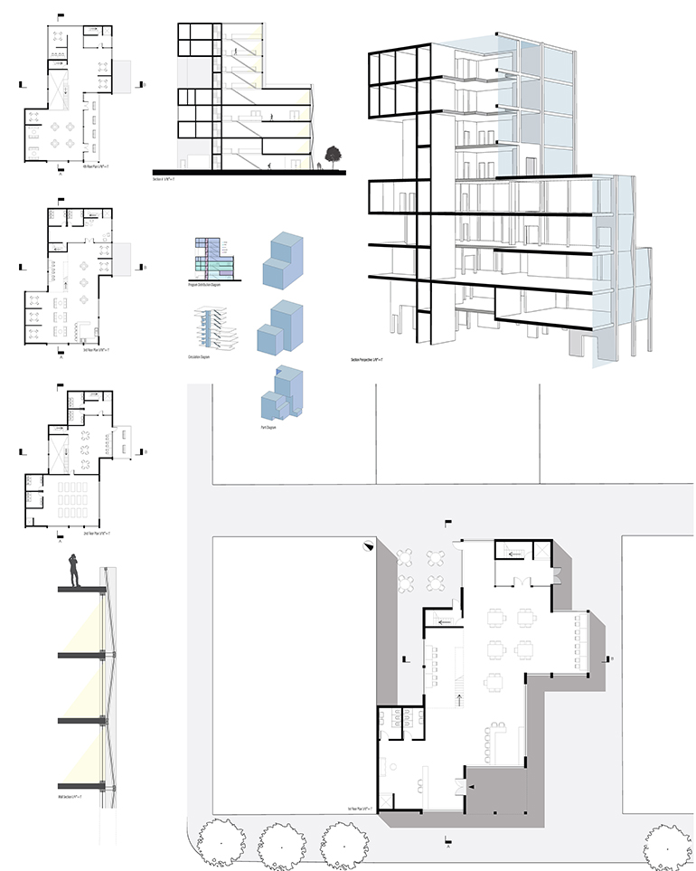 Blueprints of a building project.