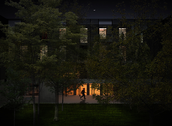 Rendering of the building at night.