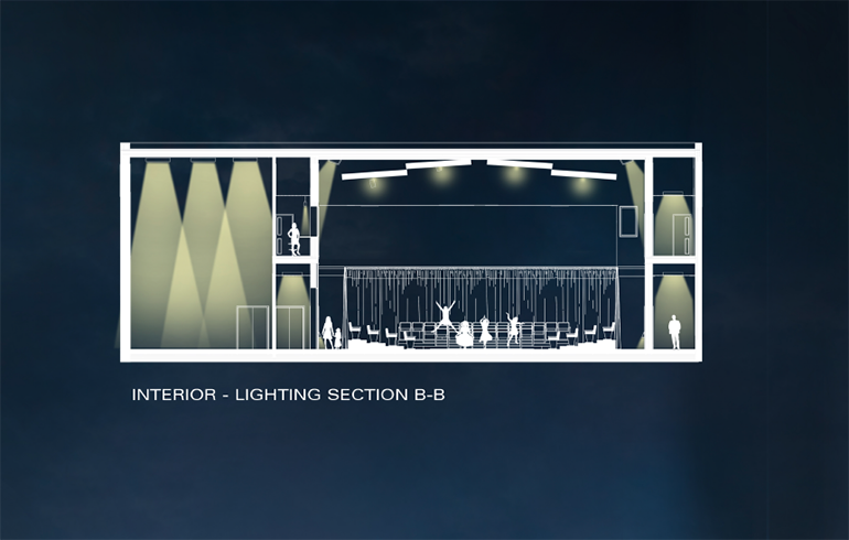 Rendering of the lighting of the theater.