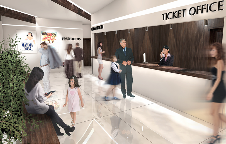 Rendering of the lobby of the theater